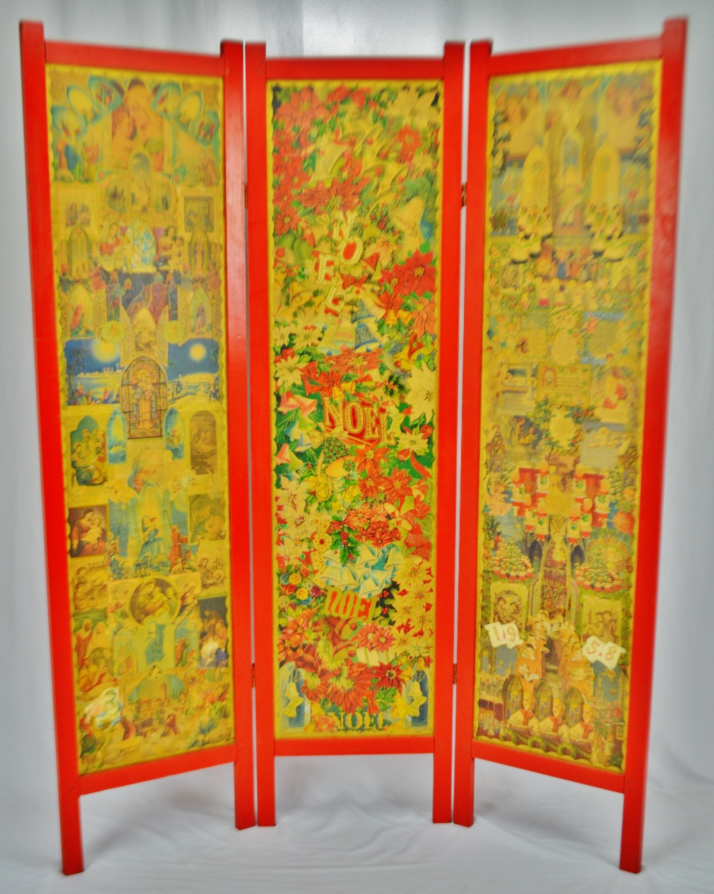 Vintage Victorian Style 3 Panel Christmas Decoupage Folding Screen