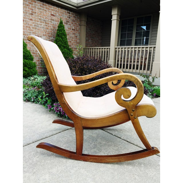1940's French Rocking Chair - Wood Curved Arms - Image 4 of 8