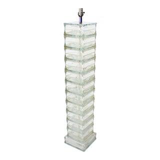 Italian Mid-Century Modern Glass Block Floor Lamp For Sale