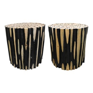 Mid-Century Modern Rustic Log Round Side Tables - a Pair For Sale