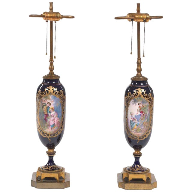 Pair of Sèvres Style Ormolu-Mounted Urns, Now as Lamps For Sale