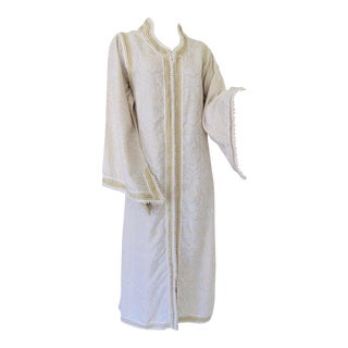 Moroccan White Kaftan Maxi Dress Caftan Size Large For Sale
