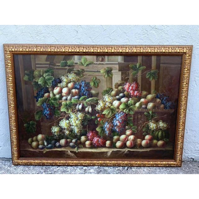 Exquisite large European still life of grapes on a ledge, unsigned Well painted of various fruits and Varietals of grapes...