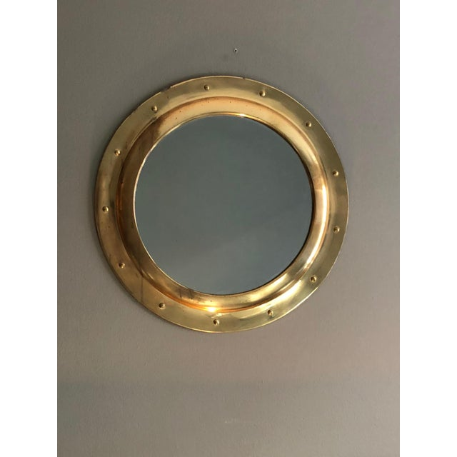 Rivet Porthole Brass Wall Mirror - Image 4 of 4