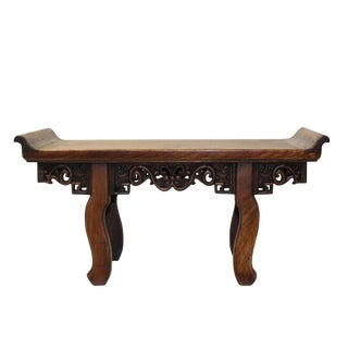 Chinese Brown Wood Altar Shape Rectangular Table Top Display Stand Easel For Sale