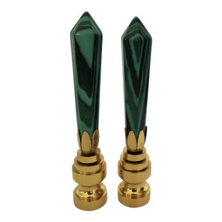 Malachite Finials in Brass Bases - a Pair For Sale