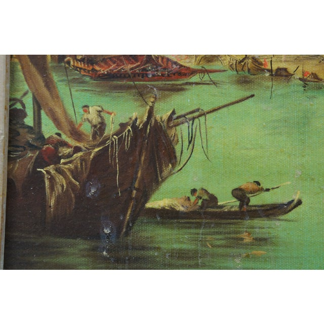 Green Vintage 20th Century Venice Italy Patin Impressionist Cityscape Oil Painting For Sale - Image 8 of 12