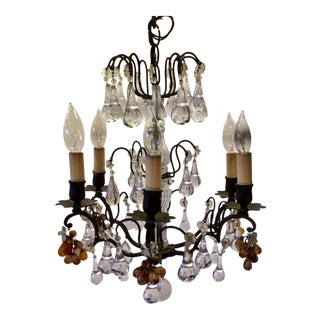 1950s Art Nouveau Brass & Crystal Chandelier For Sale