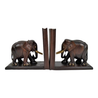 Wood and Bone Elephant Bookends, Pair