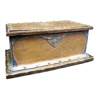 Antique J.G. Grogan & Co. Art Nouveau Silver and Copper Mounted Humidor For Sale