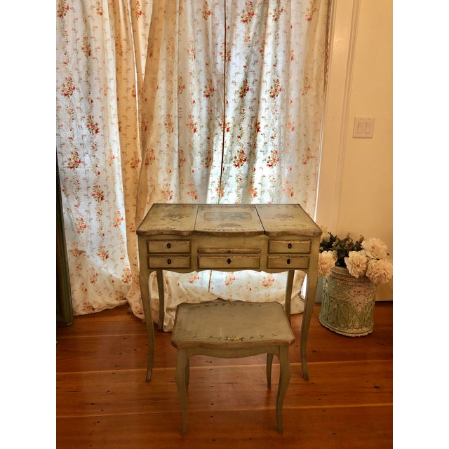 1920s Antique Hand Painted French Vanity With Bench-a Pair For Sale - Image 13 of 13