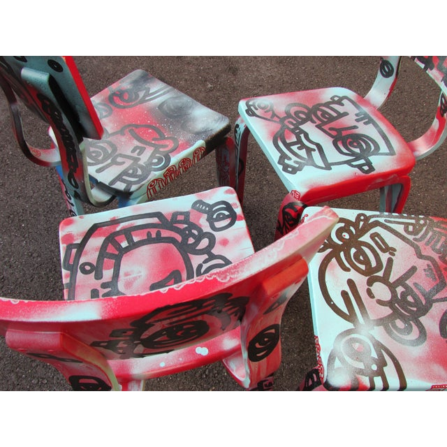 Graffiti Painted Children's Thonet Chairs - Set of 4 - Image 7 of 11