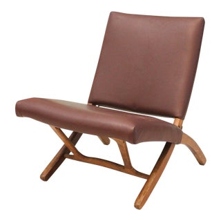 Mid 20th Century Vintage Leather Boho Lounge Chair For Sale