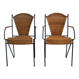 1960s Vintage Frederick Weinberg Style Wicker and Metal Accent Chairs- a Pair For Sale