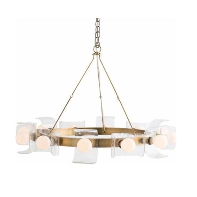 Arteriors Valerie chandelier, antique brass ring with seeded glass. Showroom floor sample. Made in the 2010s.