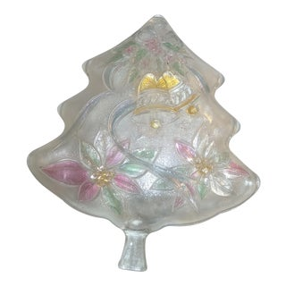 Vintage Mikasa Clear Crystal Christmas Tree Trinket Candy Nut Dish For Sale