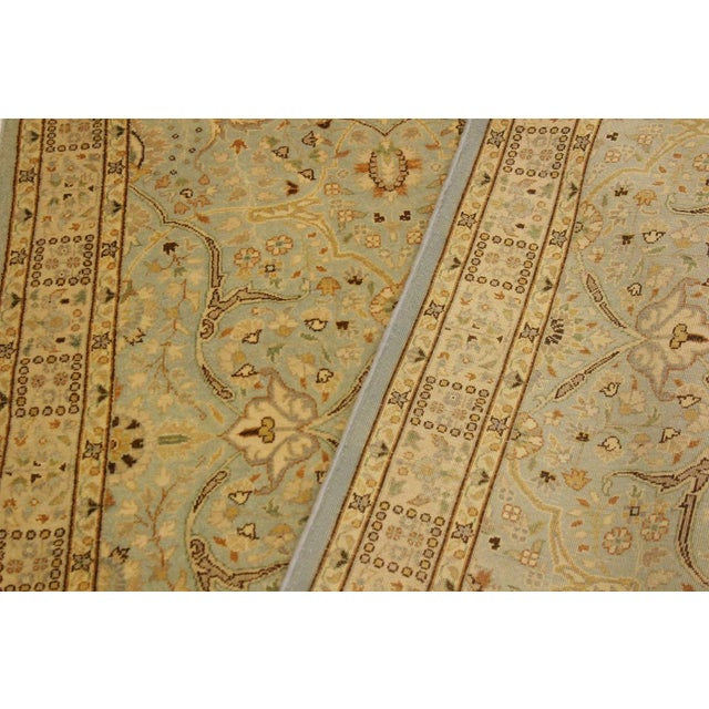 Textile Semi Antique Istanbul Ira Blue/Ivory Turkish Hand-Knotted Rug -4'0 X 5'11 For Sale - Image 7 of 8