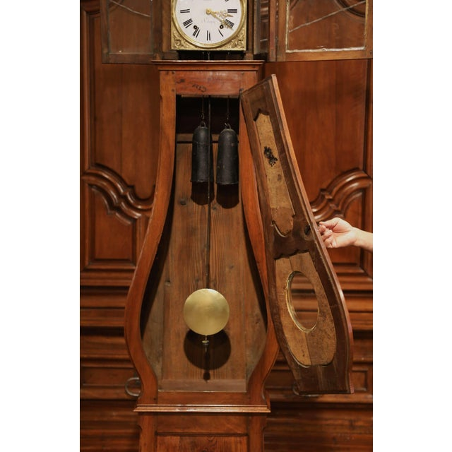 Late 18th Century French Louis XV Carved Burl Walnut Tall Case Clock From Lyon For Sale - Image 10 of 13
