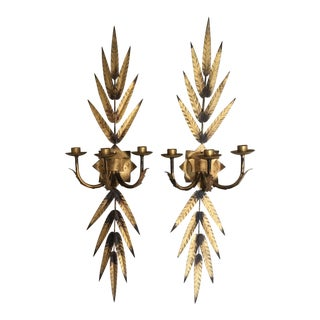 French Gilt-Painted Tole Candle Sconces - A Pair
