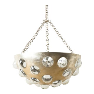 Modern Domed Silver Leaf Chandelier For Sale