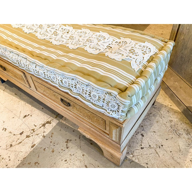 Late 19th Century 19th Century French Wood Banquette Bench With Cotton Cushion and Storage For Sale - Image 5 of 13