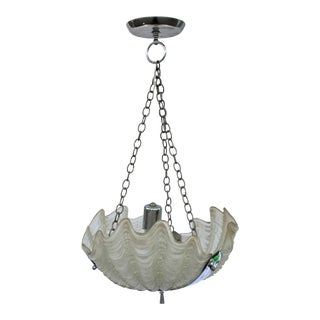 Original Art Deco 3 Glass Shell Single Bulb Nickel Finish and Ceiling Cap Chandelier, Europe For Sale