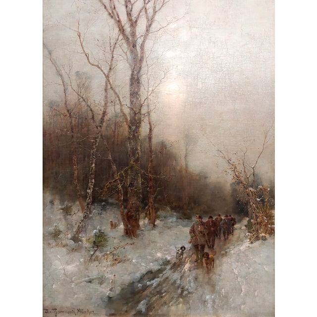 Figurative Desiree Thomassin -Hunters in a Winter Wooded Landscape -19th Century Oil Painting For Sale - Image 3 of 11
