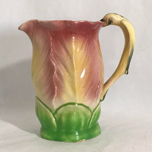 1950s Vintage Majolica Hand Painted Bird Parrot Handle Ceramic Pitcher W Cups - 6 Piece Set For Sale - Image 5 of 12