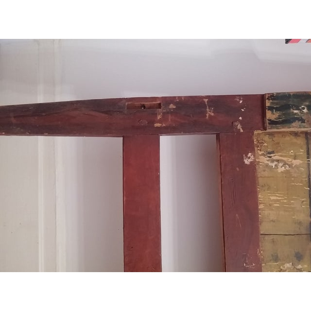 Antique Primitive Painted Red Headboard - Image 10 of 10