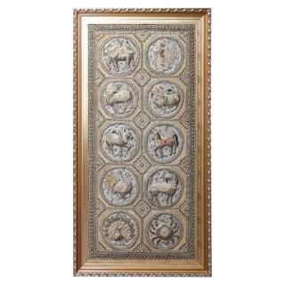 20th Century Figural Burmese Zodiac Kalaga, Jeweled & Padded Needlepoint, Framed For Sale