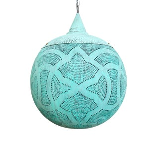 Verdigris Copper Globe Lantern Small