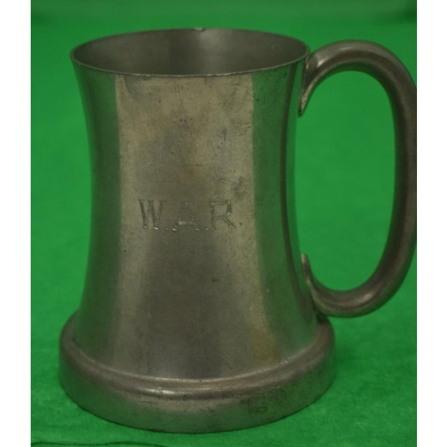 """Set of 5 Abercrombie & Fitch Pewter tankards engraved """"w.a.r."""", made in England."""