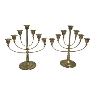 Vintage Boho Chic Brass Candleabra - a Pair For Sale