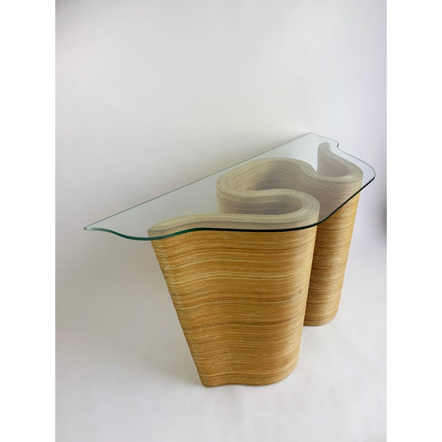 Pencil Reed Bamboo Curvy Ribbon Scroll Console Aft Gabriella Crespi For Sale - Image 13 of 13