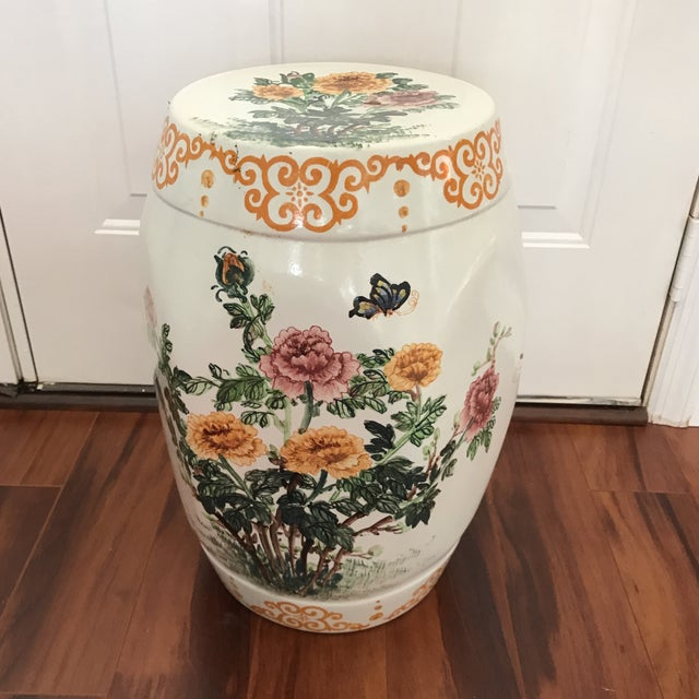 Vintage Hand Painted Hexagonal Garden Seat For Sale In Tampa - Image 6 of 6