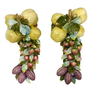 Pair of Italian Porcelain Fruit and Floral Wall Decor For Sale