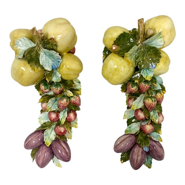 Vintage Italian Porcelain Hand Painted Fruit and Floral Wall Decor - a Pair For Sale