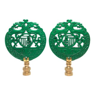 Chinese Kelly Green Malachite Lamp Finials - a Pair For Sale