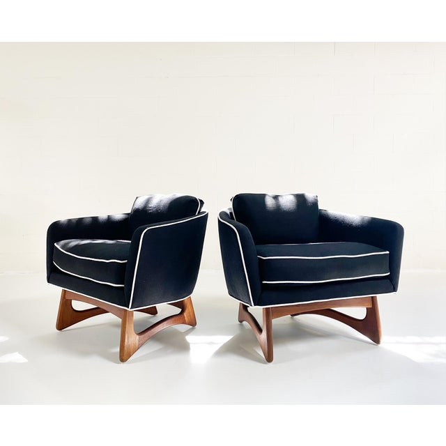 FORSYTH Adrian Pearsall Lounge Chairs in Rose Uniacke Linen, Pair For Sale - Image 4 of 4