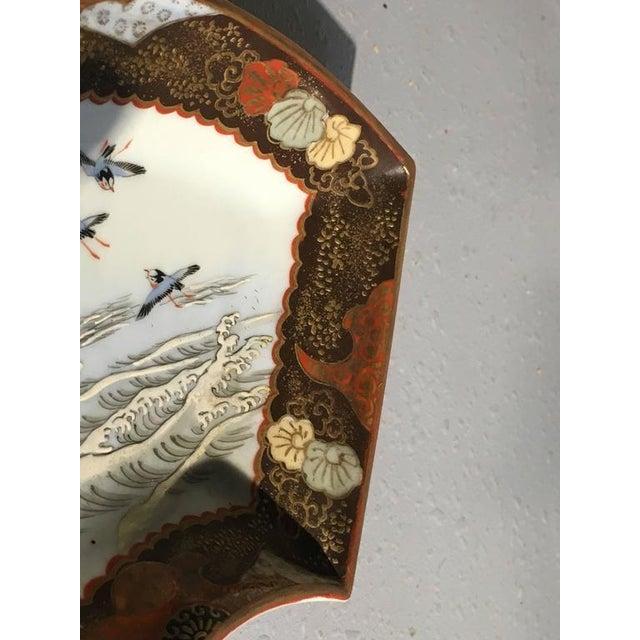 Black Japanese Meiji Period Kutani Fan Shaped Dishes, Set of Five For Sale - Image 8 of 10