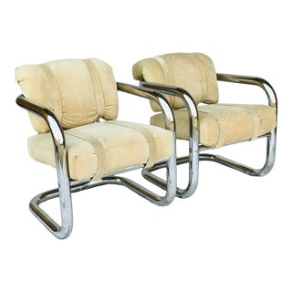 John Mascheroni Style Tubular Chrome Lounge Chairs - a Pair For Sale