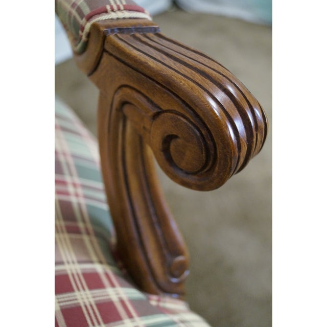 Fairfield French Style Plaid Upholstered Arm Chair - Image 5 of 10