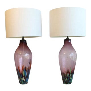 A Pair of Amethyst Confetti Morano Table Lamps Sold For Sale
