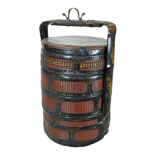 Early 20th Century Antique Bamboo Food Basket For Sale