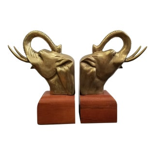 Vintage Mid-Century Brass & Walnut Elephant Bookends - A Pair For Sale