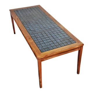 1970s Vintage Danish Rosewood Tile-Top Coffee Table For Sale