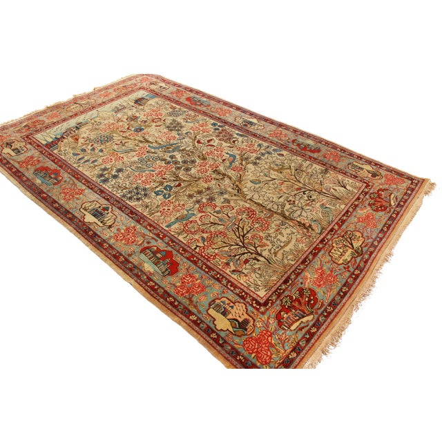 Rug & Kilim 1910s Antique Kashan Blue and Beige Wool Persian Rug-4′6″ × 7′1″ For Sale - Image 4 of 8