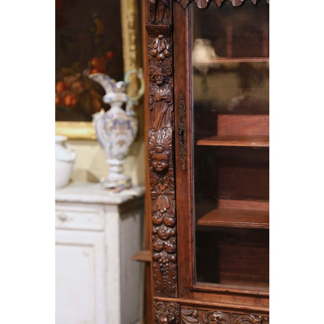 Late 19th Century Mid-19th Century French Louis XIII Heavily Carved Oak Secretary Bookcase Desk For Sale - Image 5 of 13