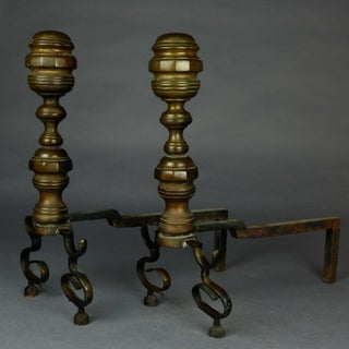 1850 American Federal Philadelphia Style Brass Beehive Fireplace Andirons - a Pair Preview