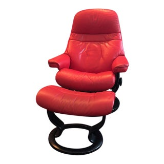 "Ekornes ""Paloma"" Ruby Red Stressless Recliners With Ottomens For Sale"